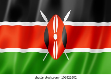 Kenya flag, three dimensional render, satin texture