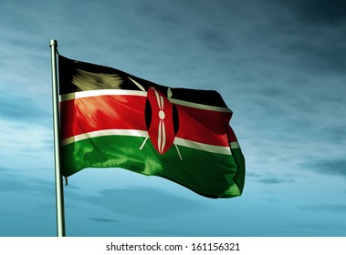 Kenya flag waving on the wind
