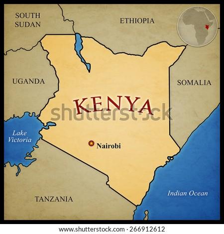Kenya Map Bordering Countries Capital Nairobi Stock Illustration