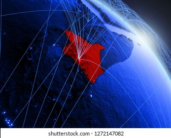 Kenya from space on model of blue digital planet Earth. Concept of blue digital technology, connectivity and travel. 3D illustration. Elements of this image furnished by NASA.