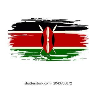 Kenyan flag brush stroke grunge background. Raster version.