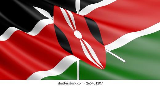 Kenyan flag fluttering in wind.