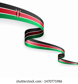 Kenyan flag wavy abstract background layout. Raster version.