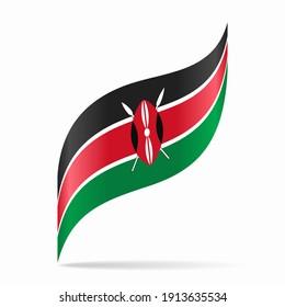 Kenyan flag wavy abstract background layout. Raster version.
