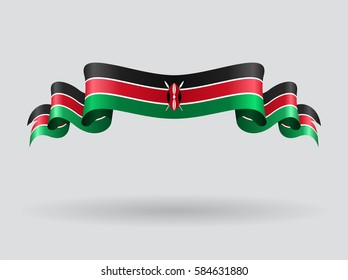Kenyan flag wavy abstract background. Raster version.