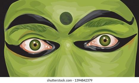 Kerala Handmade Kathakali Face Illustration