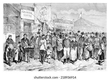 Kermesse Festival in Brussels, Belgium, drawing by Hubert, vintage illustration. Le Tour du Monde, Travel Journal, 1881