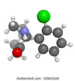 Ketamine anaesthetic drug, molecular model. Atoms are represented as spheres with conventional color coding: hydrogen (white), carbon (grey), oxygen (red), nitrogen (blue), chlorine (green)