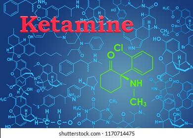 Ketamine. Chemical formula, molecular structure. 3D rendering