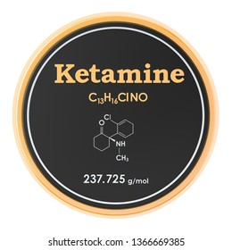 Ketamine. Chemical formula, molecular structure. 3D rendering isolated on white background