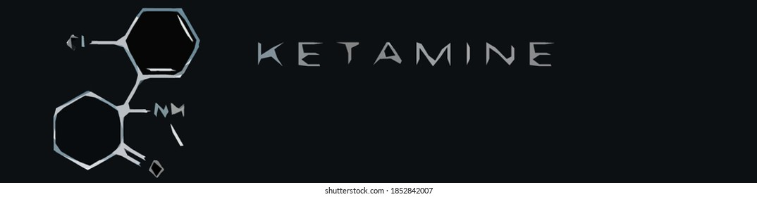 Ketamine. Chemical formula, molecular structure .Ilustration for your desigen. Abstract background.