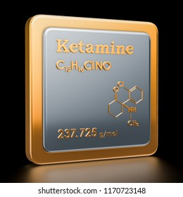 Ketamine. Icon, chemical formula, molecular structure. 3D rendering