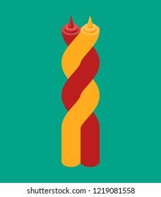 Ketchup and mustard twisting hugs. Fast food.