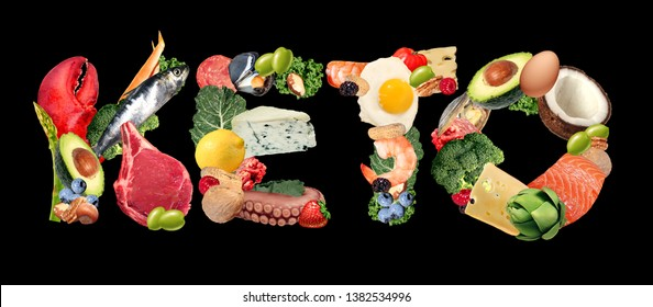 Keto ketogenic food text diet as a low carb and high fat food eating lifestyle as fish nuts eggs meat avocados as a therapeutic meal isolated on a black background with 3D illustration elements.