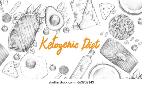 Ketogenic Diet sketch pencil drawing anti-aging anti-inflammatory popular high fat diet to lose weight