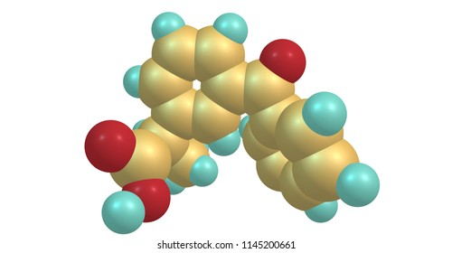 Ketoprofen, C16H14O3, is one of the propionic acid class of nonsteroidal anti-inflammatory drugs or NSAID with analgesic and antipyretic effects. 3d illustration