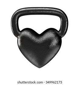 Kettlebell heart metal / 3D render of heavy heart shaped kettlebell