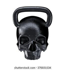 Kettlebell skull metal / 3D render of heavy skull shaped kettlebell