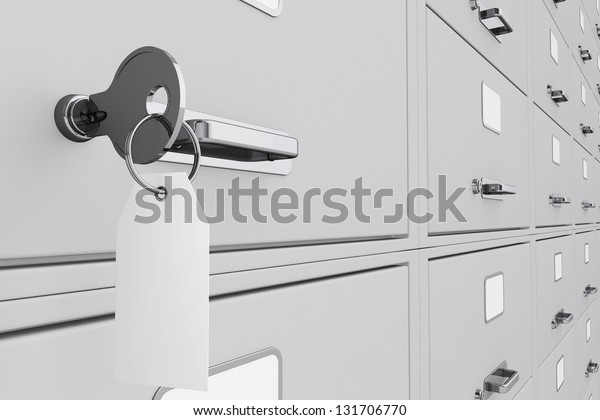 Key with blank tag in a deposit box