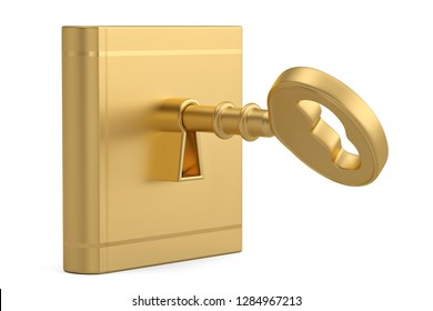 A key in a book isolated on white background. 3D illustration.