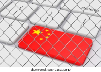 Key with China Flag on White PC Keyboard behind the Chain Link Fence extreme closeup. 3d Rendering