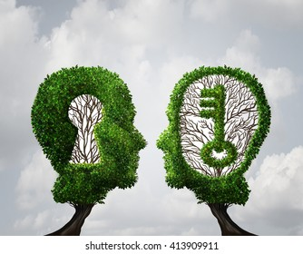 Key hole Solution partnership and key opportunity business concept as two trees shaped as a human head with a key and keyhole shapes as a collaboration success metaphor in a 3D illustration style.