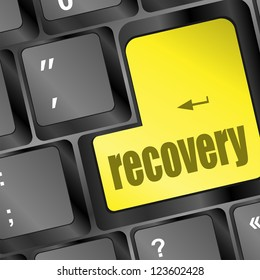 key with recovery text on laptop keyboard, raster