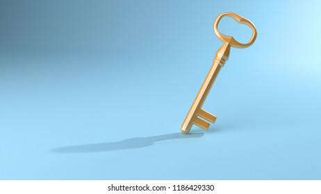 key success concept,3D illustration,3D rendering