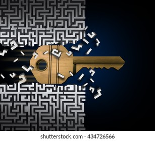 Key to success or jailbreak and jailbreaking concept and crack the code symbol as a keyhole object breaking through a maze puzzle as a finding a path access business idea as a 3D illustration.