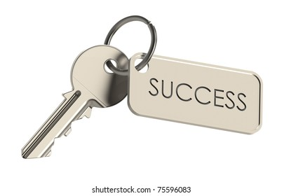 Key to Success. Key on a keyring. Success concept. Isolated on white