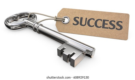 Key to Success. Vintage Steel Key and Tag label with the text Success. 3D render.