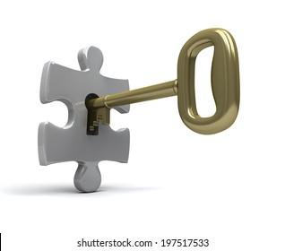 Key unlocks single jigsaw piece
