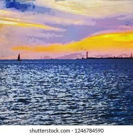 Key West Sunset Double Watercolor Texture