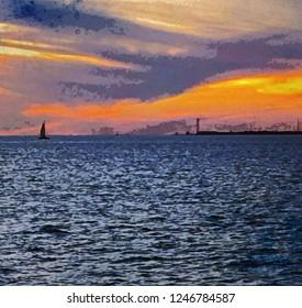 Key West Sunset Watercolor