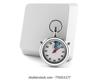 Keyboard button with stopwatch isolated on white background. 3d illustration