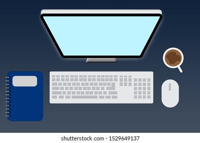 keyboard, computer, book, mouse vector illustration