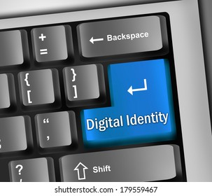 Keyboard Illustration with Digital Identity wording