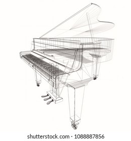 Keyboard musical instrument. Stylized grand piano. Musical emblem. 3D illustration