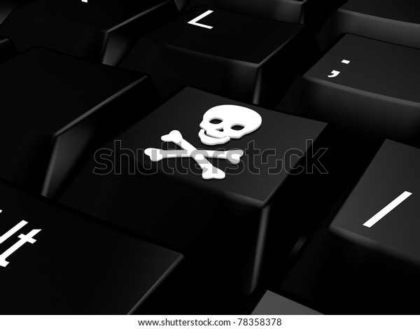 Keyboard with skull and bones. 3d rendered image