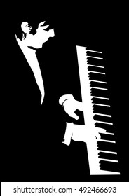 Keyboards man of jazz on black background