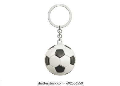 Keychain with a soccer ball, 3D rendering isolated on white background