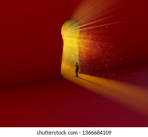 Keyhole, girl looking through. Entrance, portal in the shape of a keyhole. Concept, job opportunities, path to follow. Future, fantasy. 3d rendering
