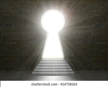 Keyhole in a stone wall. 3d illustration