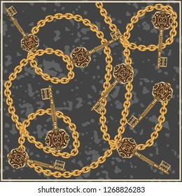 keys stylish background. Chain pattern. Baroque pattern. Scarf pattern