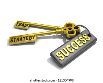 """a keys with words """"team"""", """"strategy"""" and """"success"""" , business concept"""