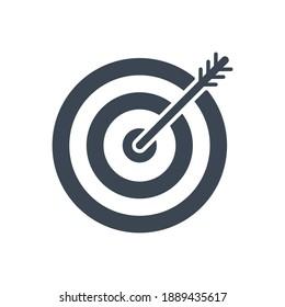 Keyword Targeting Related Glyph Icon. Isolated on White Background. Illustration.