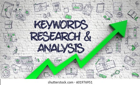 Keywords Research And Analysis Drawn on White Wall. 3d.