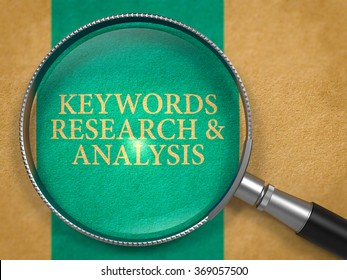 Keywords Research and Analysis through Loupe on Old Paper with Blue Vertical Line Background.