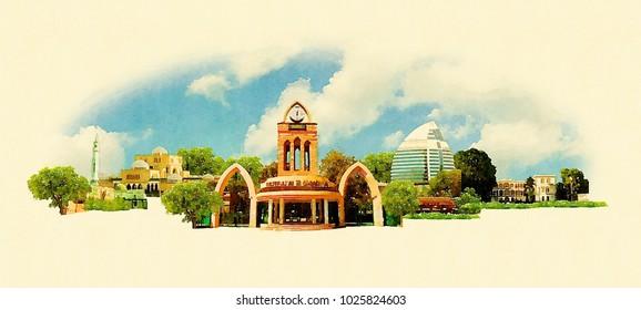 KHARTOUM city colored watercolor painting illustration