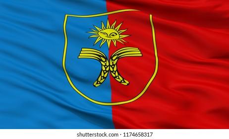 Khmelnytskyi Oblast City Flag, Country Ukraine, Closeup View, 3D Rendering